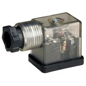 Stik til magnetventil DIN 43650B med LED - lille