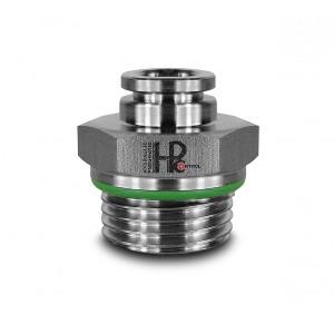 Tilslut nippel lige rustfri stålslange 8 mm gevind 1/2 tommer PCS08-G04