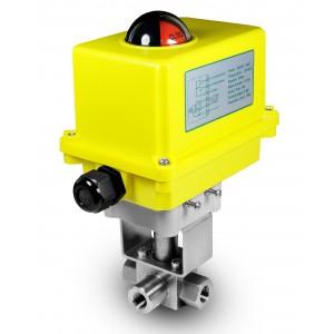Højtryks 3-vejs kugleventil 1/4 tommer SS304 HB23 med elektrisk aktuator A250