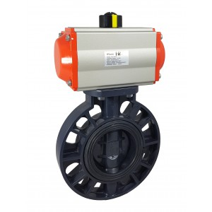 Sommerfuglventil, gasspjæld DN300 UPVC med pneumatisk aktuator AT160