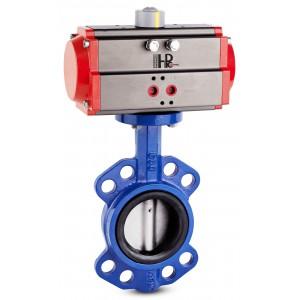 Sommerfuglventil, gasspjæld DN40 med pneumatisk aktuator AT63