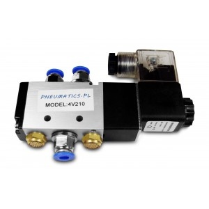 Magnetventil 5/2 4V210 1/4 tommer til pneumatiske cylindre + stik 8 mm