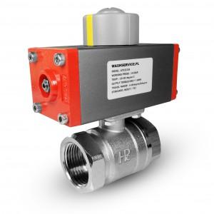 Messing kugleventil 3/4 tommer DN20 med pneumatisk aktuator AT32