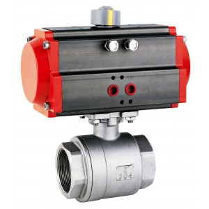 Rustfri kugleventil 1 1/2 tommer DN40 med pneumatisk aktuator AT63