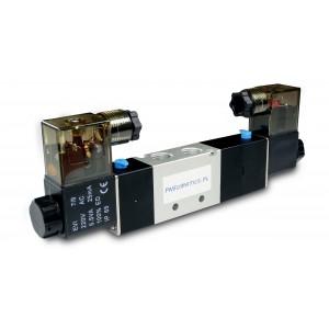 Magnetventil 5/3 4V230P 1/4 tommer til pneumatiske cylindre 230V eller 12V, 24V