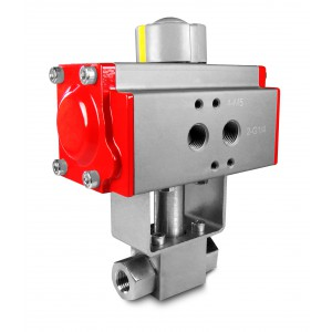 Højtryks kugleventil 1/4 tommer SS304 HB22 med pneumatisk aktuator AT40