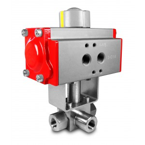 Højtryks 3-vejs kugleventil 1 tomme SS304 HB23 med pneumatisk aktuator AT75
