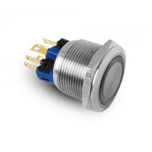 Knap 22mm rustfrit stål IP65 LED 230V eller 24V blå øjeblik