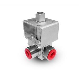 Højtryks 3-vejs kugleventil 3/8 tommer SS304 HB23 monteringsplade ISO5211