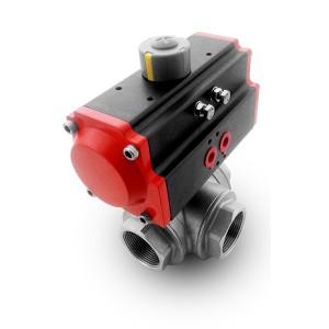 Rustfri stav 3-vejs kugleventil DN32 1 1/4 tommer med pneumatisk aktuator AT63