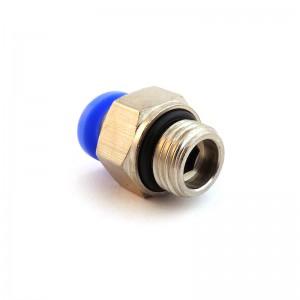 Tilslut nippel lige slange 8mm gevind 3/8 tommer PC08-G03