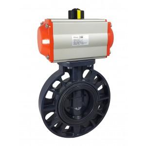 Sommerfuglventil, gasspjæld DN100 UPVC med pneumatisk aktuator AT83