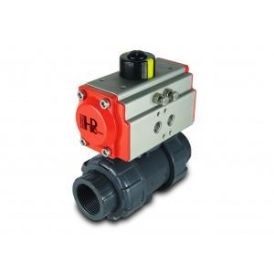 Kugleventil UPVC 1 1/4 tommer DN32 med pneumatisk aktuator AT40