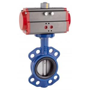 Sommerfuglventil, gasspjæld DN80 med pneumatisk aktuator AT75