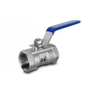 Kugleventil rustfrit stål 3/8 tommer DN10 med håndtag - 1 stk