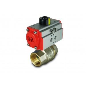 Messing kugleventil 1 1/2 tommer DN40 med pneumatisk aktuator AT52