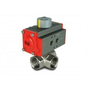 3-vejs messingkugleventil 1 tommer DN25 med pneumatisk aktuator AT40